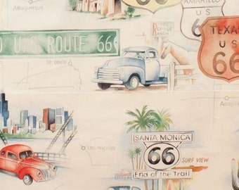 210979 cream Alexander Henry fabric car sign Route 66