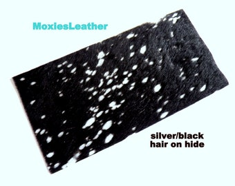 Hair on hide leather pieces- hair on hide print leather - and silver black leather - leather hide with hair on -