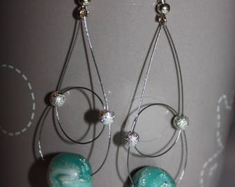 Earrings polymer clay and green ink