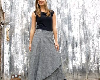 Denim Maxi Wrap Skirt - Hemp & Organic Cotton - Durable, Machine Washable, Classic, Timeless Wrap Skirt