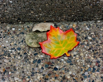 Handsculpted Clay Autumn Maple Leaf Magnet