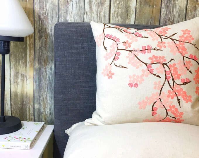 Organic cotton pillow with hand printed cherry blossom boughs