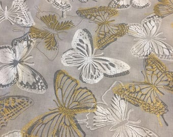 Custom Made Weighted Blanket/calming/Autism/Anxiety/ Gold White and gray butterflies/ADHD/Aspergers/PTSD/