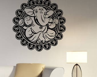 Lord Ganesha Wall Decal Hindu God Indian Elephant Vinyl Sticker Religious Art Om Symbol Decorations for Home Meditation Room Yoga Decor gn1