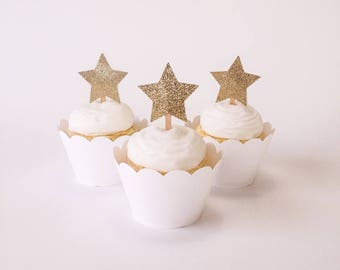 Set of 12 - Gold Glitter Star Cupcake Toppers – Twinkle Twinkle Little Star -  Gold Glitter Stars -  Star 1st Birthday - Ready to Ship