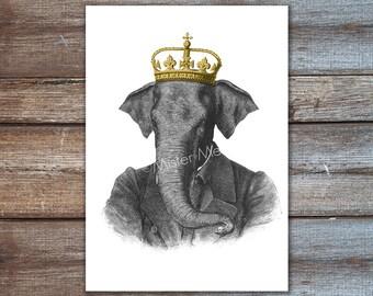 elephant with crown art, elephant king