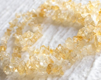 25%OFF Natural Citrine Chips Beads 100 Percent genuine semiprecious bead 7X13 mm polished Chip 16 inch strand, organic earthy yellow white