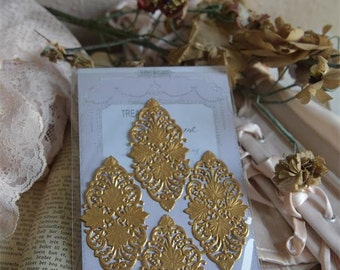 German Dresden Gold Foil Filagree for Scrapbooking Cards Paper Decoration Bags Notebook Journal, Jeanne D' Arc Embellishment craft supply