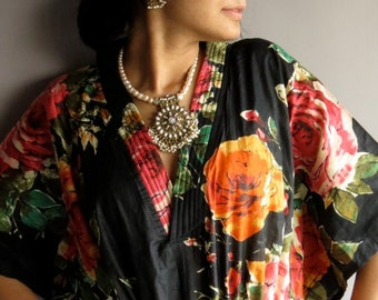 Black Roses kaftan - Perfect long dress, beachwear, spa robe, make great Christmas, Valentine Day, Anniversary or Birthday gifts