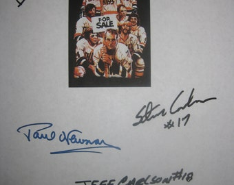 Slap Shot Signed Film Movie Screenplay Script Autographs X4 Hockey Paul Newman David Steve Hanson Jeff Carlson signature classic hockey film