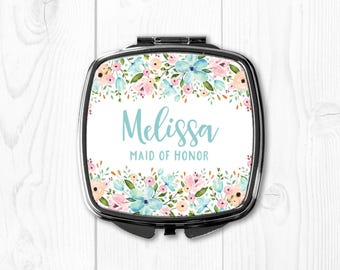 Maid of Honor Gift Sister Wedding Gift for Maid of Honor Compact Mirror Personalized Maid of Honor Gift Purse Mirror Pink Custom Blue Aqua