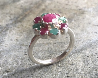 Flower Ring, Ruby Ring, Natural Ruby, Emerald Ring, Natural Emerald, Vintage Rings, July Birthstone, May Birthstone, Solid Silver Ring