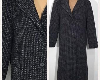Beau Brem Vintage Charcoal Wool Blend 2 Button Coat Womens Size 8