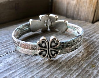 Custom Leather Bracelet With Silver Four Leaf Clover Slide Charm And Decorative Snap Clasp