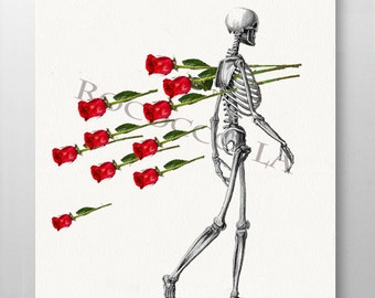 Skeleton and RED ROSES- Anatomy print, poster- Anatomical art prints, Love wall art, Collage print - ART Print 8 x 10""