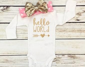 Hello World Gold Newborn Baby Bodysuit