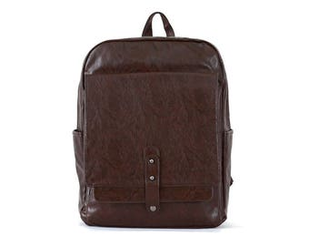 Mens Faux Leather Backpack Womens College School Bag Daypack 612203