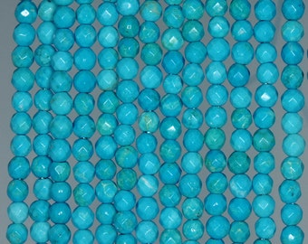 4mm Queen Turquoise Gemstone Grade AA Blue Faceted Round 4mm Loose Beads 15.5 inch Full Strand (90183361-245)