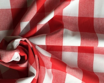 Red Gingham Cotton Quilt Weight Fabric, 100% Cotton - Fat Quarter