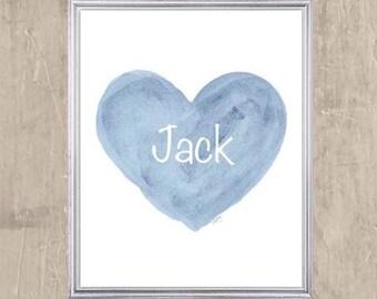 Baby Boy Gift, Personalized Baby Gift, 8x10, Baby Boy Nursery Print, Blue Nursery Print, Newborn Boy Gift, Baby Name Art, Baby Prints