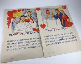 Pair of Vintage Illustrated Poem Pages Great for Framing