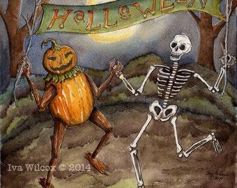 Halloween PRINT Pen and Watercolor Illustration Painting Fantasy Folk Art Skeleton Pumpkin