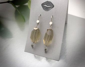 Lemon quartz faceted earrings eith sterling silver