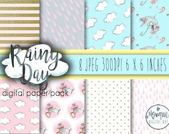 Rainy Day Digital Papers. Watercolor designer clip art, planner, fabric, stickers, backdrop, invitations