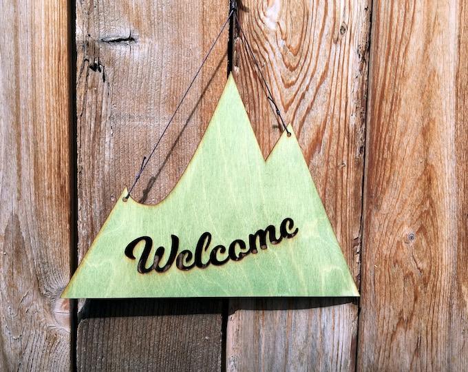 Mountain Welcome Sign- Rustic Wall Art - Mountain Wall Art - Mountain Decor - Welcome Home - Mountain Art - Welcome Sign - Mountain Gift