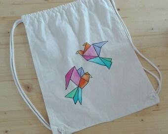 Kitbag origami birds, pastel, hand painted