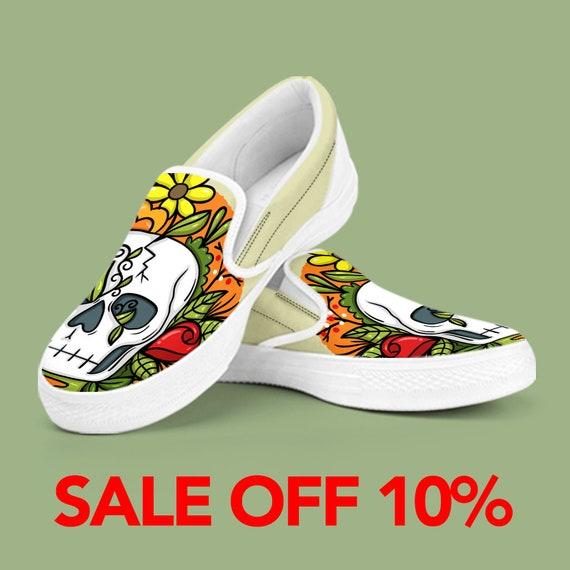 3d76a44c938552 Custom Day On halloween on de Of Dead muertos Sugar Shoes vans skull Custom  Skull Slip ...