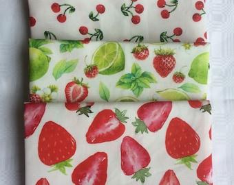 3 x Fru-Tea Towels - Strawberries, Cherries and Limes