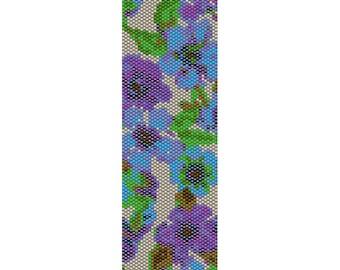 Wild Flowers 3 Peyote Bead Pattern, Bracelet Cuff, Bookmark, Seed Beading Pattern Miyuki Delica Size 11 Beads - PDF Instant Download