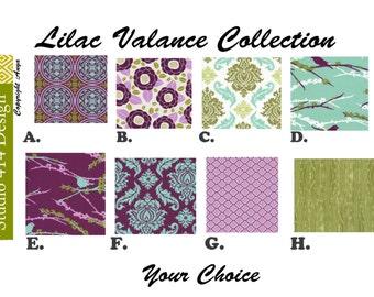 Lilac Valance. Lilac Window Treatment.Kitchen Window Valance.Valance Window Treatment.Joel Dewberry Valance