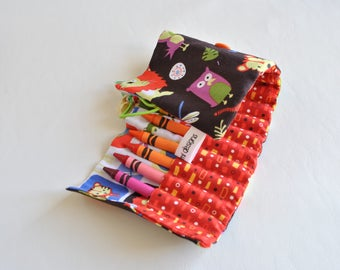 Crayon Roll Up-Crayon Holder-Art Supply-Art Carrier-Toddler Boy-Preschool Boy-Birthday Gift-Crayon Organizer-Easter Gift-Easter Basket Toy