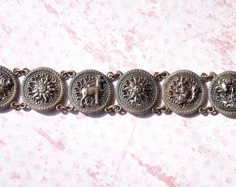 Lovely Vintage Antique Silver Metal Flower & Animal Charm Bracelet - Spring Vintage Finds - Vintage Bracelet - Aged Patina