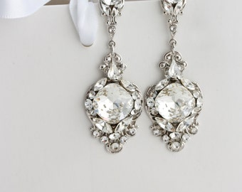 Crystal Wedding Earrings Vintage Bridal Earrings Swarovski Crystal Chandelier Earrings Wedding Jewelry for Brides  ESTELLA CRYSTAL EARRINGS