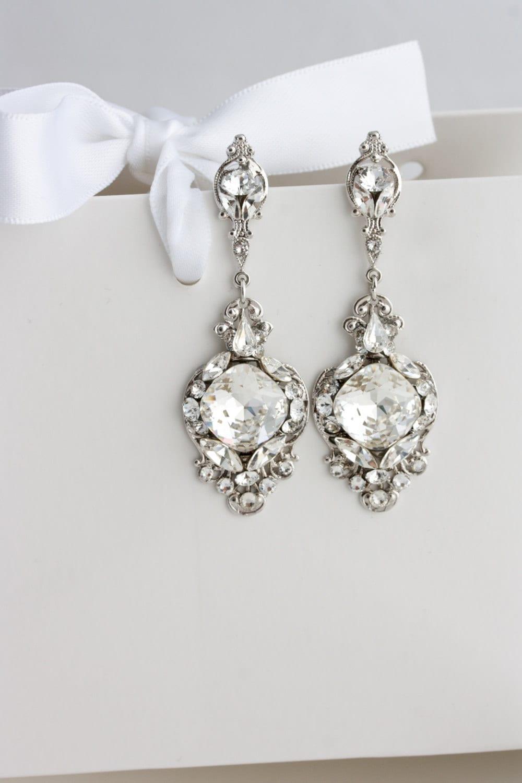 Crystal wedding earrings vintage bridal earrings swarovski zoom arubaitofo Choice Image