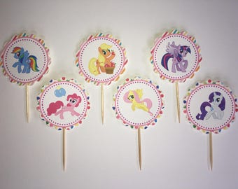 My Little Pony -12 cupcake toppers