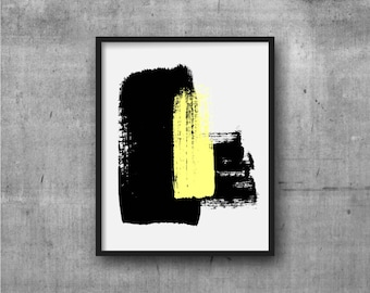 Black & Yellow Art, Abstract Art, Contemporary Art, Art Print, Abstract painting, Contemporary Painting, Minimal, Minimalist