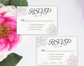 Modern Floral Simple Elegant Wedding RSVP Template, Wedding Response Card, Mauve Floral card, DIY Instant Download