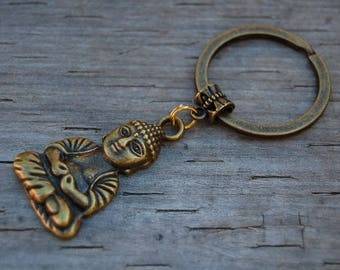 Buddha Keychain,Tibetan Buddha,Car,Bag,Purse,Spirituality,Mala,Protection,Meditation,Yoga,Boho,Heart Initial Keychain,Pray,Gift,Buddha