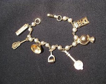 Music Etc. Pearl Charm Bracelet Vintage