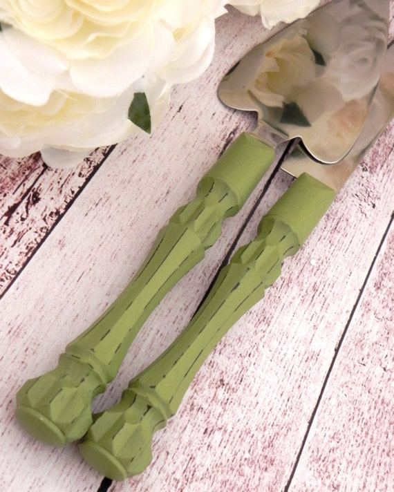 Olive Green Shabby Chic Wedding Cake Server And Knife Set, Bridal Shower Gift, Wedding Gift