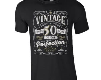 50th Birthday Gift T-Shirt Made In 1968 Original Parts 50 Years Anniversary Celebration Mens Top