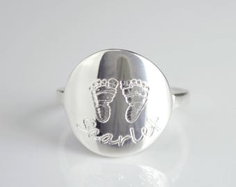 Personalized Footprint Ring, Custom Baby footprint ring, new mom ring, name ring, push present, handprint ring nameplate, personalized ring