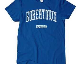 Women's Koreatown Represent T-shirt - S M L XL 2x - Ladies' Korean Tee, Korea, Little Seoul - 4 Colors