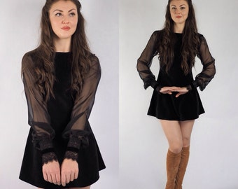 Black Velvet, Mod Dress With chiffon sleeves and lace cuffs