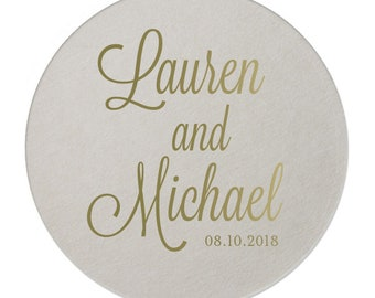 Personalized Coasters Wedding – Paper Drink Coasters Customized with Name, Monogram, 7 Shapes and 50 Ink Colors available  209
