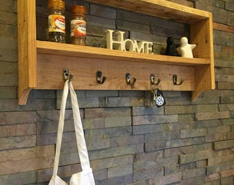 Up-cycled Pallet Wood Shelf With Hooks